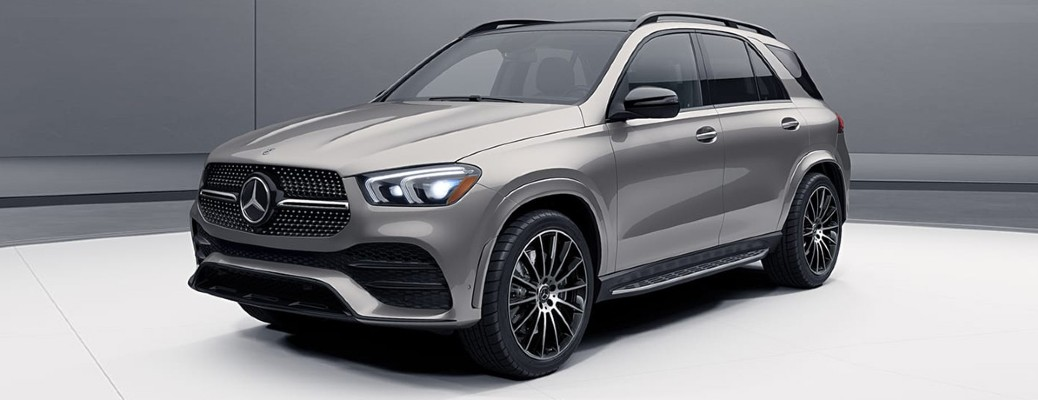 2020 MB GLE SUV silver exterior front driver side parked in room with white floor gray walls