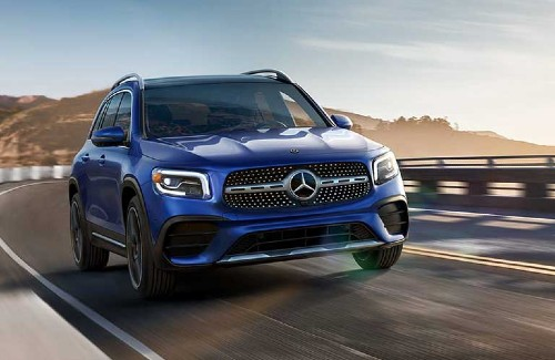 2020 MB GLB blue exterior front passenger side driving CPO sales event