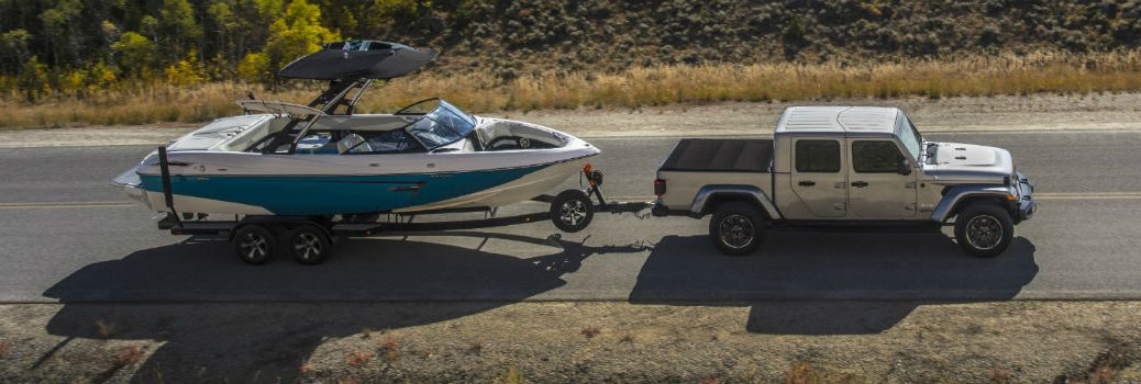 2020 Jeep Gladiator towing a boat