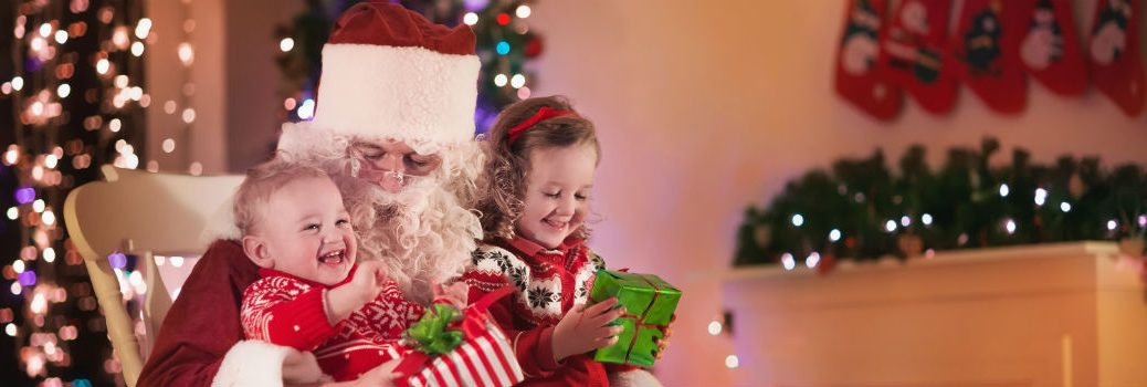 Santa with two children sitting on his lap