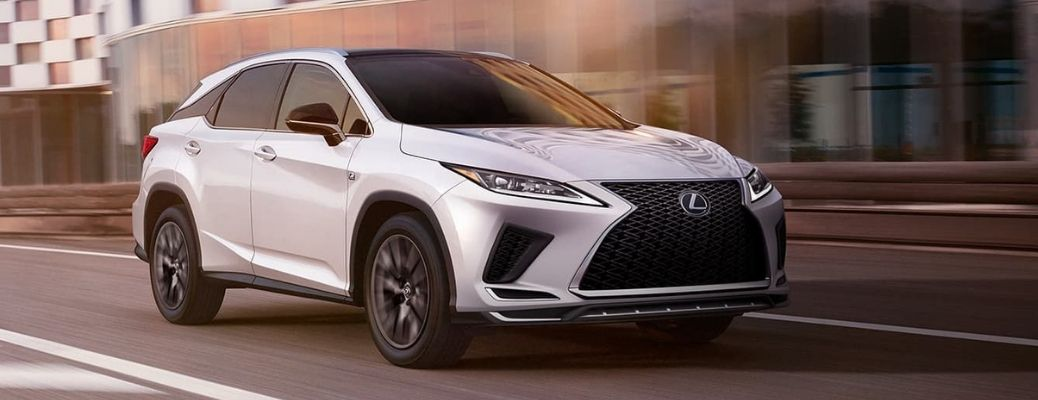 2021 Lexus RX Eminent White Pearl moving on the road