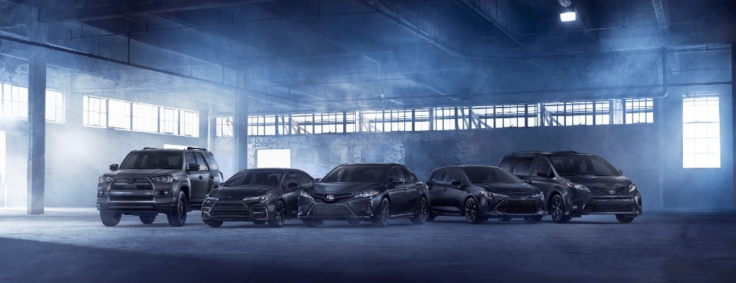 Toyota Nightshade Edition Models lined up inside warehouse