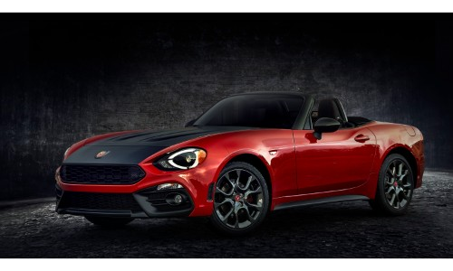 2019 Fiat 124 Spider Abarth exterior shot with style upgrades, red paint color, and heritage stripe
