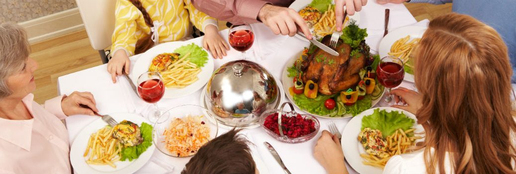 Thanksgiving Dinner on Table with Family