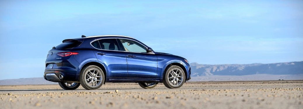 side view of a blue 2020 Alfa Romeo Stelvio