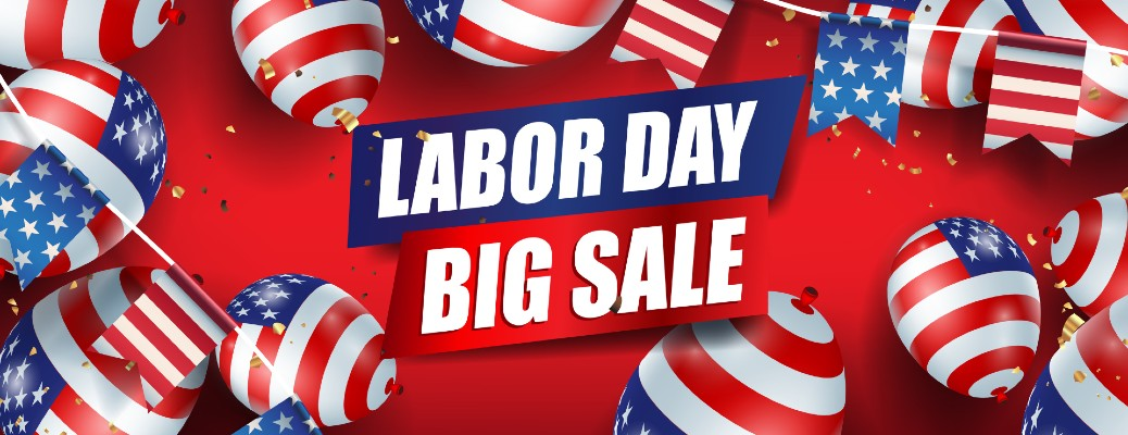 Labor Day Big Sale image banner with American Flag balloons surrounding the words