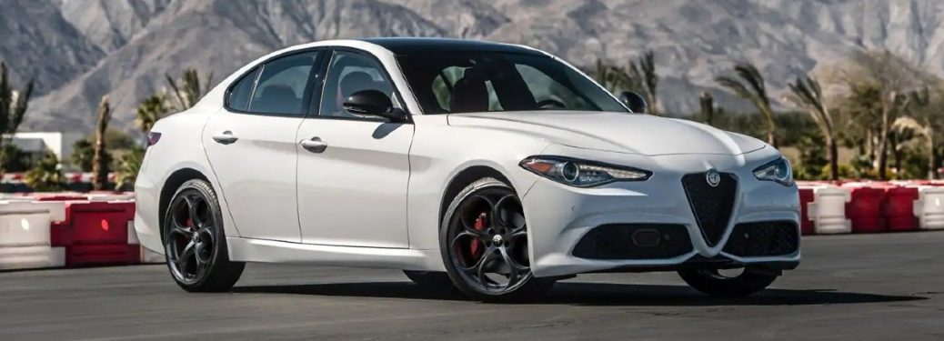 White 2021 Alfa Romeo Giulia on track