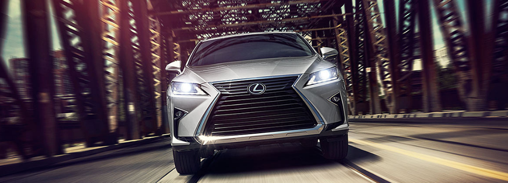 2019 Lexus RX driving on a bridge front view