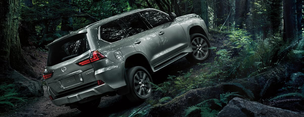 2020 Lexus LX driving on woods trail