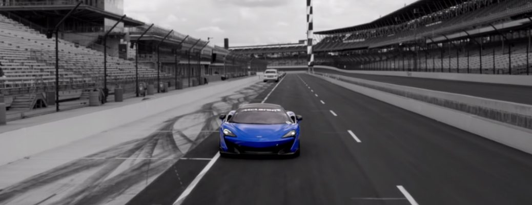 Blue McLaren 600LT driven by Lolo Jones at the Indianapolis Motor Speedway