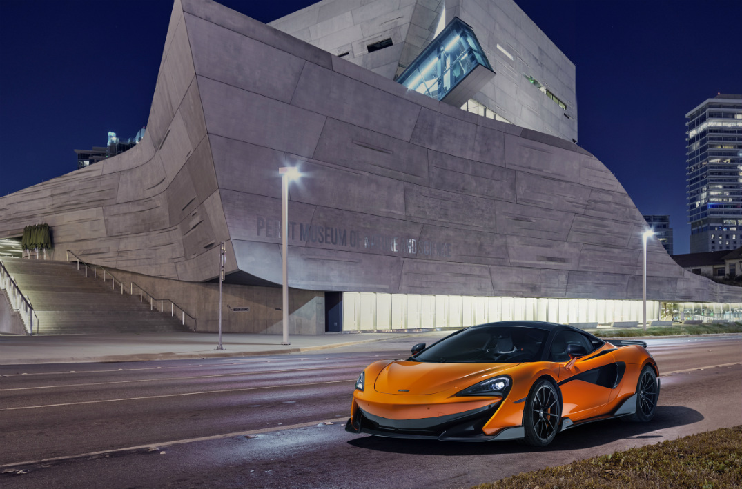 Orange McLaren 600LT at the Dallas Science Museum