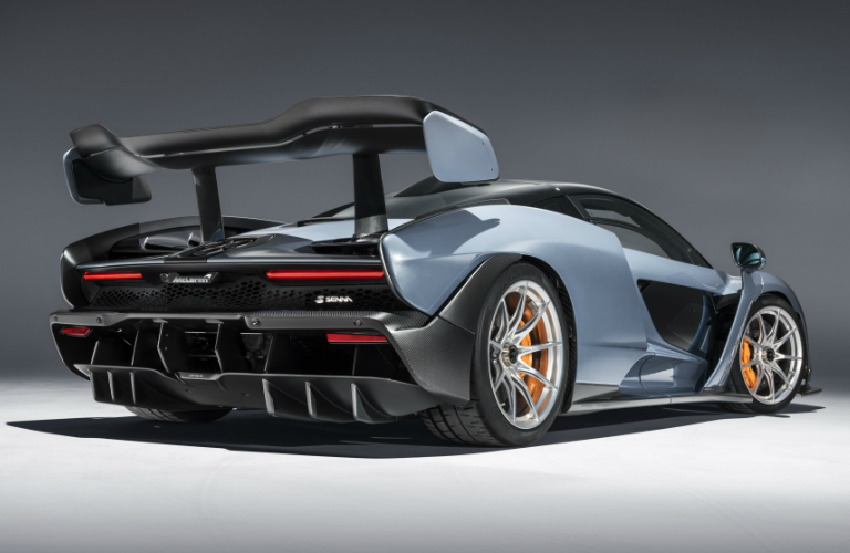 Rear view of blue 2019 McLaren Senna