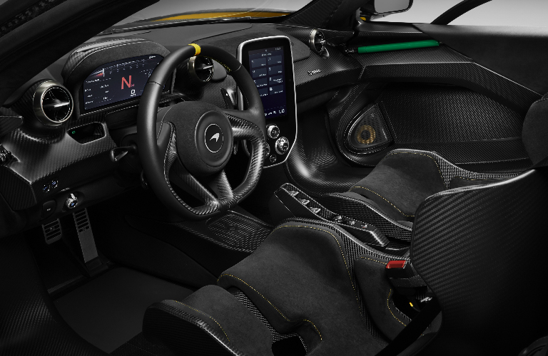 Black dashboard and seats in 2019 McLaren Senna