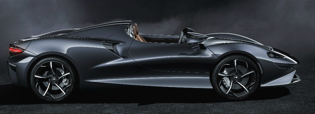 Side view of dark grey 2020 McLaren Elva