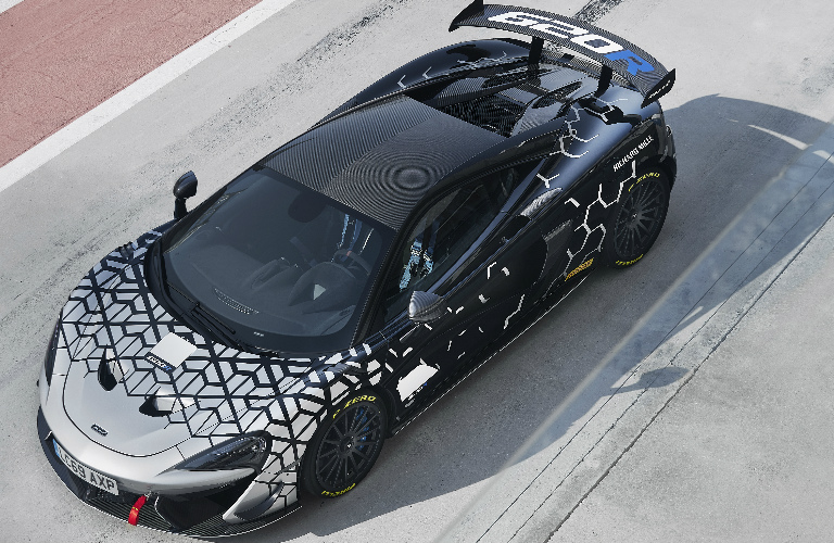 Overhead view of silver and black 2021 McLaren 620R