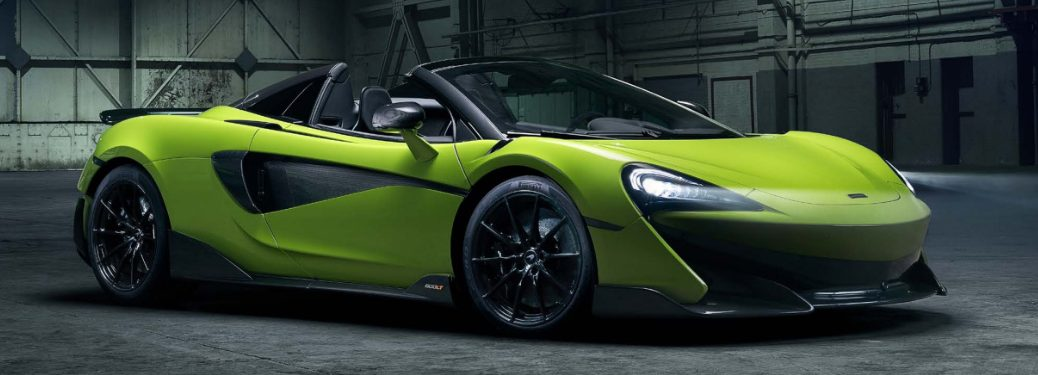 Lime green 2020 McLaren 600LT Spider parked in a warehouse