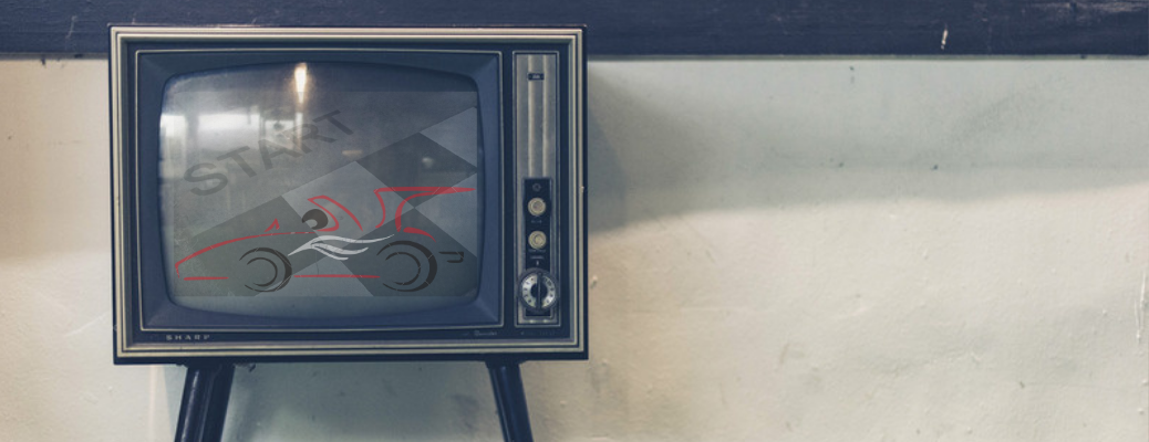 Old television shows faded image of race car and start line