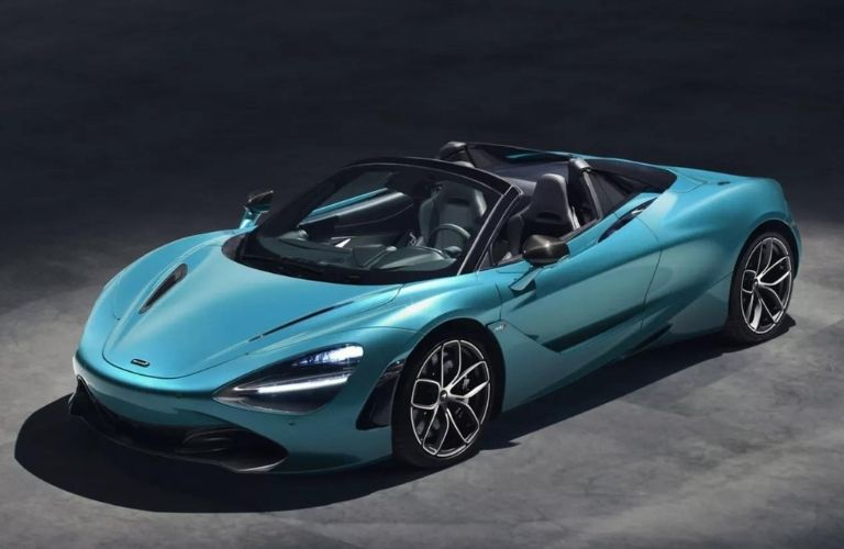2021 McLaren 720S Spider front and side view with roof down