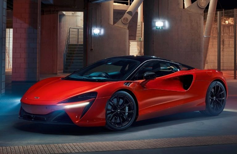 2022 McLaren Artura side view with fog lights on