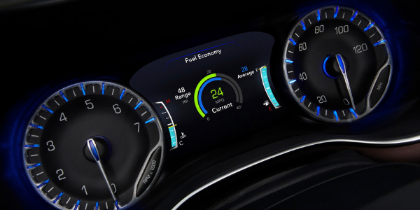 Closeup of gauges and driver information display in 2020 Chrysler Pacifica