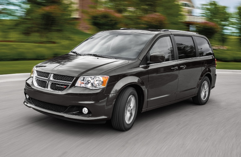 2020 Dodge Grand Caravan going around a curve