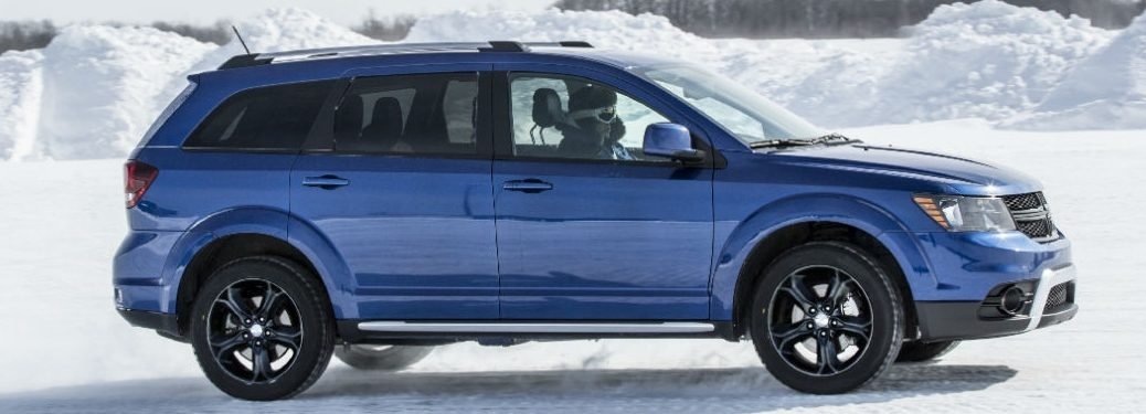 2020 Dodge Journey driving on a snow covered road