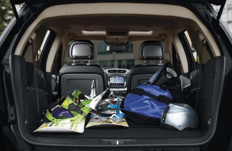Seats folded flat in the 2019 Dodge Journey