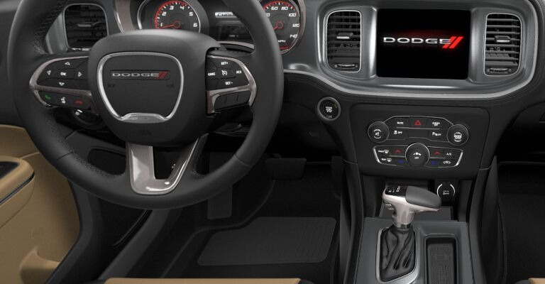 2020 Dodge Charger Black and Caramel Interior