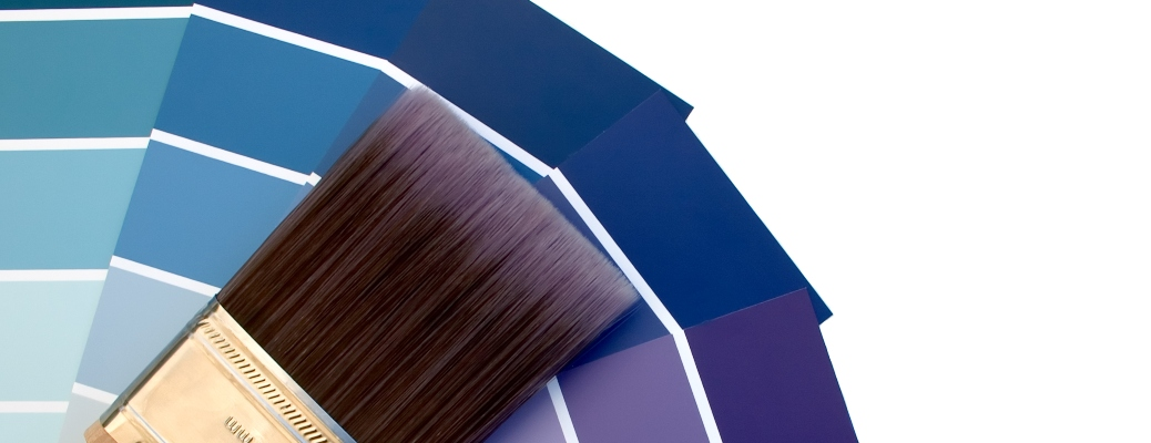 Paintbrushes with hues of blues and purples