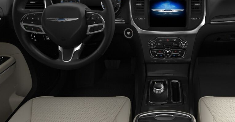 2021 Chrysler 300 Black and Linen Leather Bucket Seats