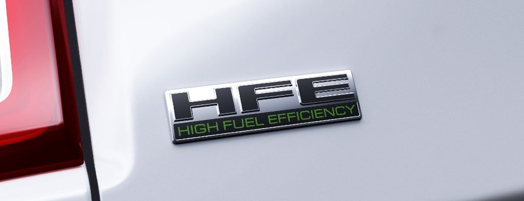 The HFE badge used on the 2021 Ram 1500 Tradesmand HFE.