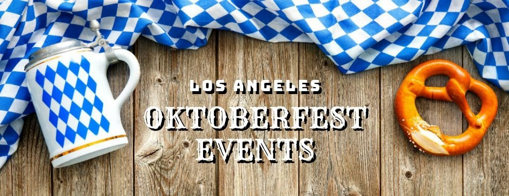 Los-Angeles-Oktoberfest-events-title-with-beer-stein-and-pretzel-on-table