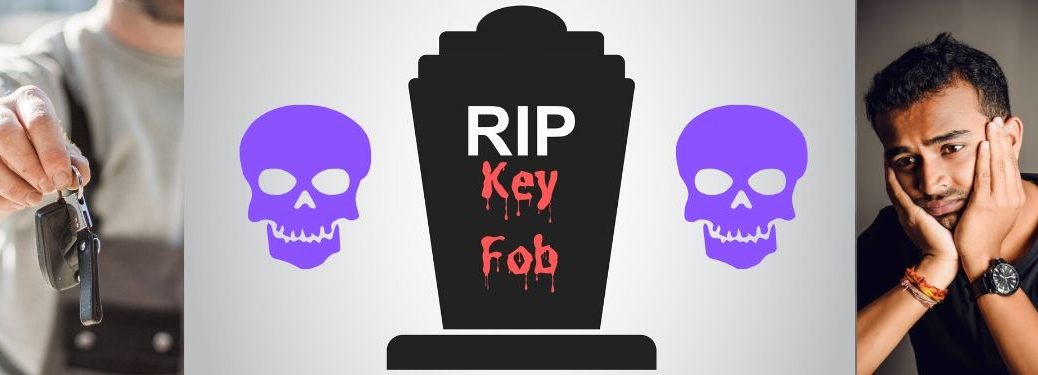 "A gravestone reads, ""RIP Key Fob."" Two purple skulls hover on either side. On the far left, a man holds a presumably dead key fob in disgust, while on the far right a man grieves in sorrow for his lost fob."