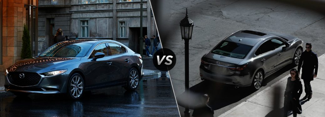 "Shiny 2020 Mazda3 and grey 2020 Mazda6, separated by a diagonal line and a ""VS"" logo."