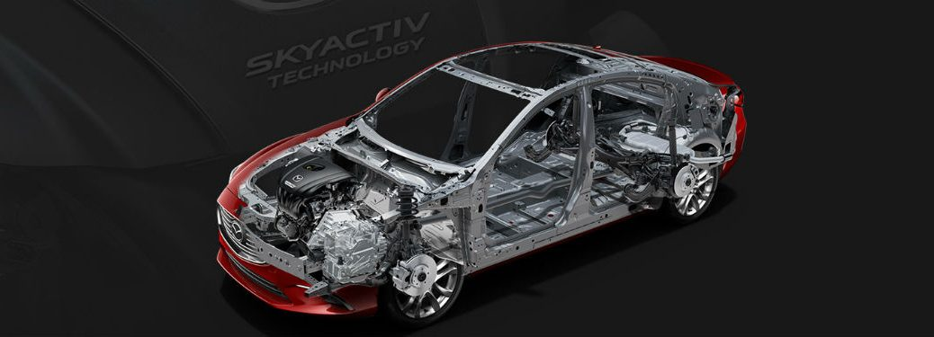 Mazda 6 with chassis and engine showing skyactiv technology