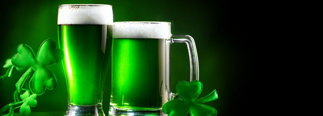 two green beers and shamrocks
