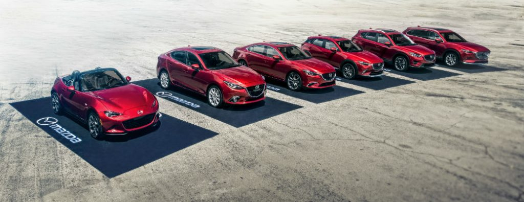 Full lineup of red exterior Mazda models