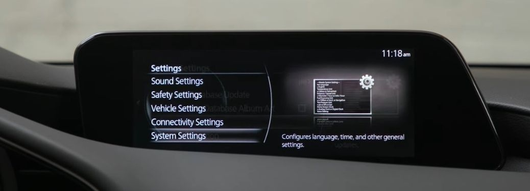 Mazda Connected Services screen on infotainment display