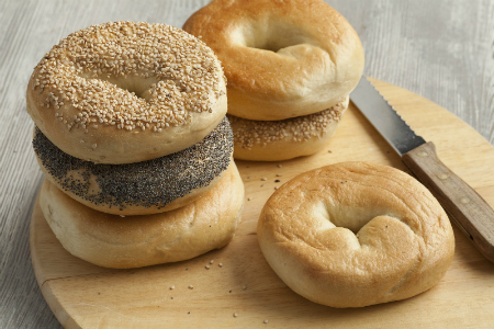bagels sitting on a countertop