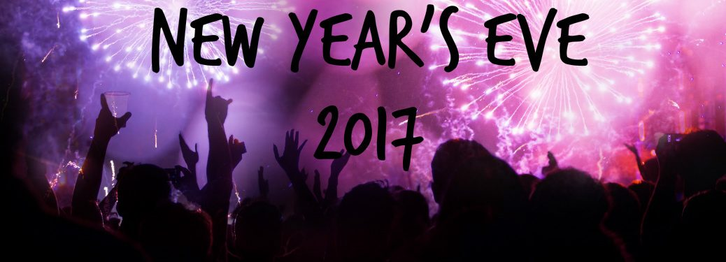 New Year's Eve 2017 text over fireworks display