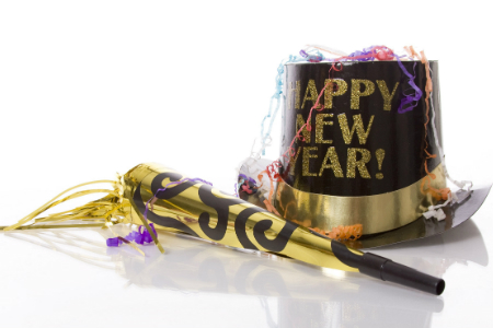 New Year's top hat and party favors