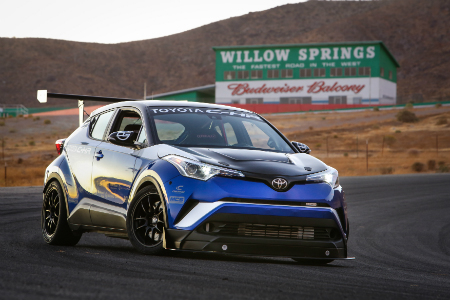 blue 2018 Toyota C-HR R-Tuned parked on track