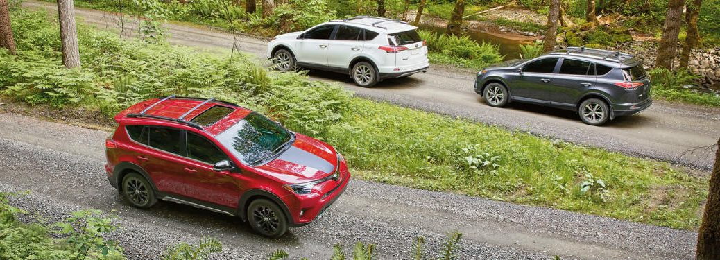 overhead view of a red, white and grey 2018 RAV4