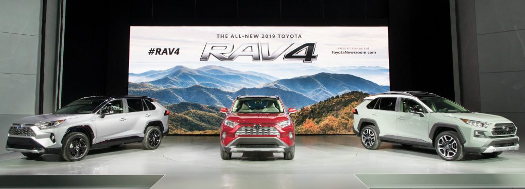 Three 2019 Toyota RAV4 models on display at NYIAS