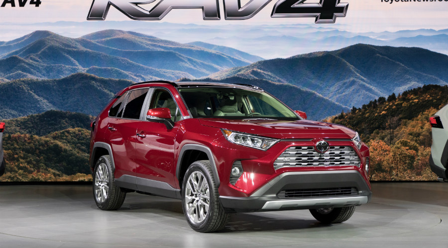 front-side view of a red 2019 Toyota RAV4 at NYIAS