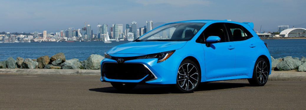 Side view of a blue 2019 Toyota Corolla Hatchback