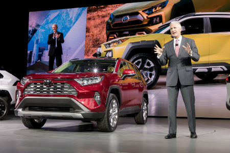 2019 Toyota RAV4 on stage during NYIAS presentation