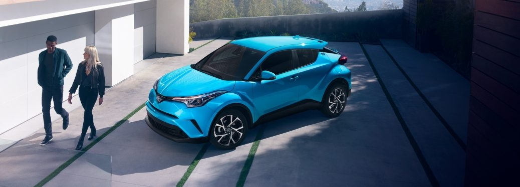 Overhead view of a blue 2019 Toyota C-HR
