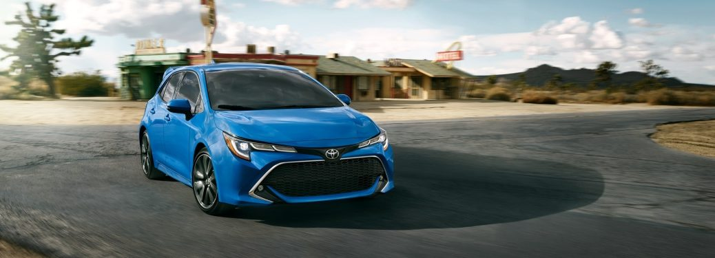 Front view of a blue 2019 Toyota Corolla Hatchback