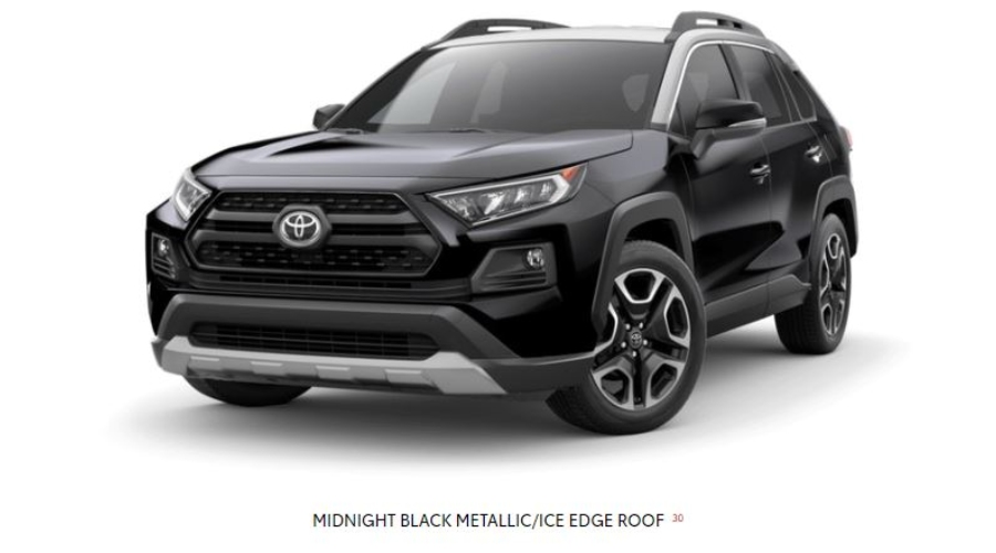 2019 Toyota RAV4 in Midnight Black Metallic/Ice Edge Roof